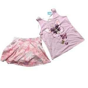 Children's Place 2 Piece Tank Skirt Set Pink 10 12